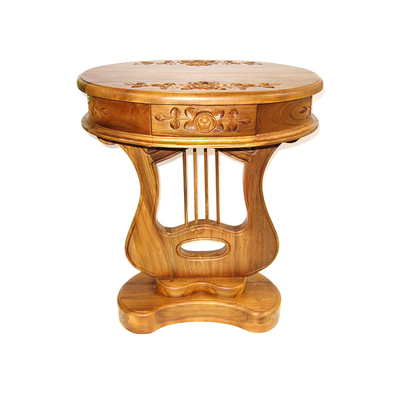 Lyre side table, legal teak