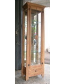 Oriental China Cabinet in natural Teak, it has one built in overhead spot light to showcase your treasured china wares and crystal glass in 4 ample shelves, plus a bottome drawers for other needs. Hardwares all in brass.