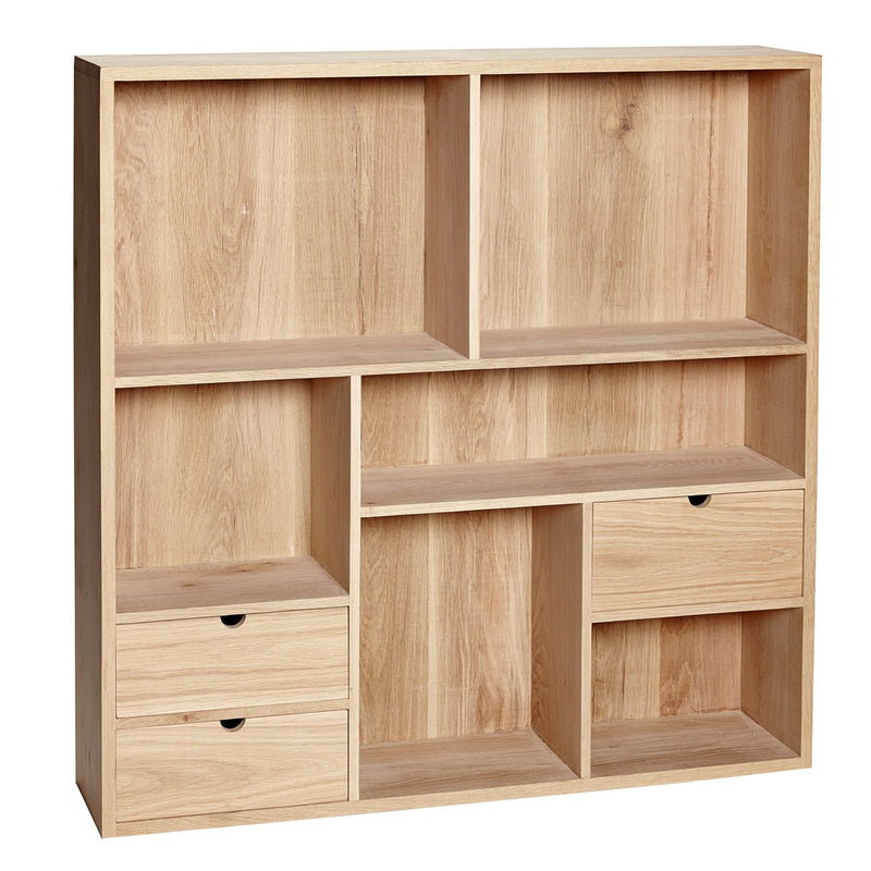 Wall shelf made from oak with 6 compartments designed by Denmark brand- Hübsch.
