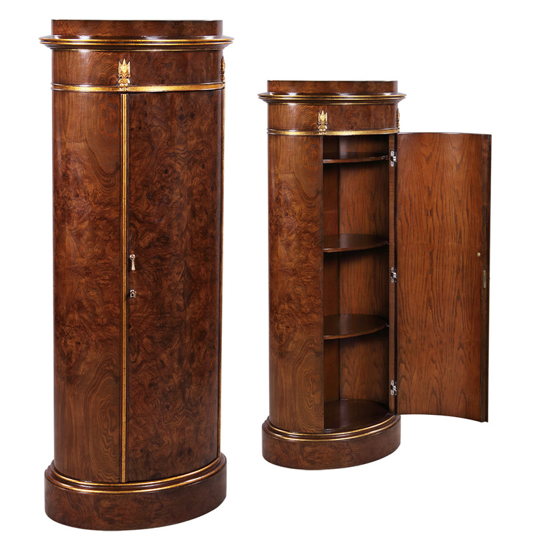 Round column 3 chest storage from Ash and Olive Ash veneer brass Jansen