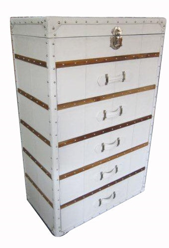 White Leather dresser chest combo for make up and storage