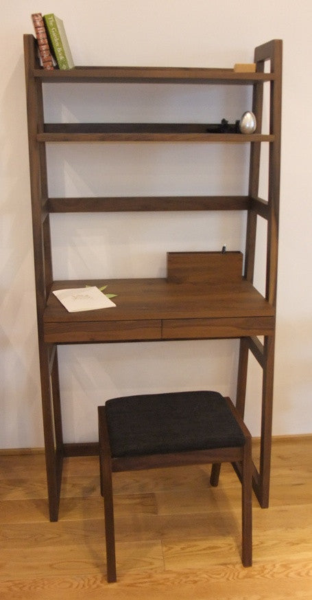 Everything under one roof, this desk features two drawers and one work top and shelves space on top, perfect for compact work space. Solid walnut.