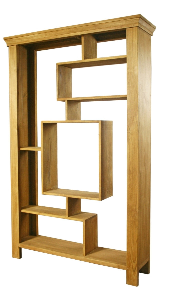 Lattitude Book Case made from Teak.  The maze like shelves design  provides storage of different object in a stylish appearance.