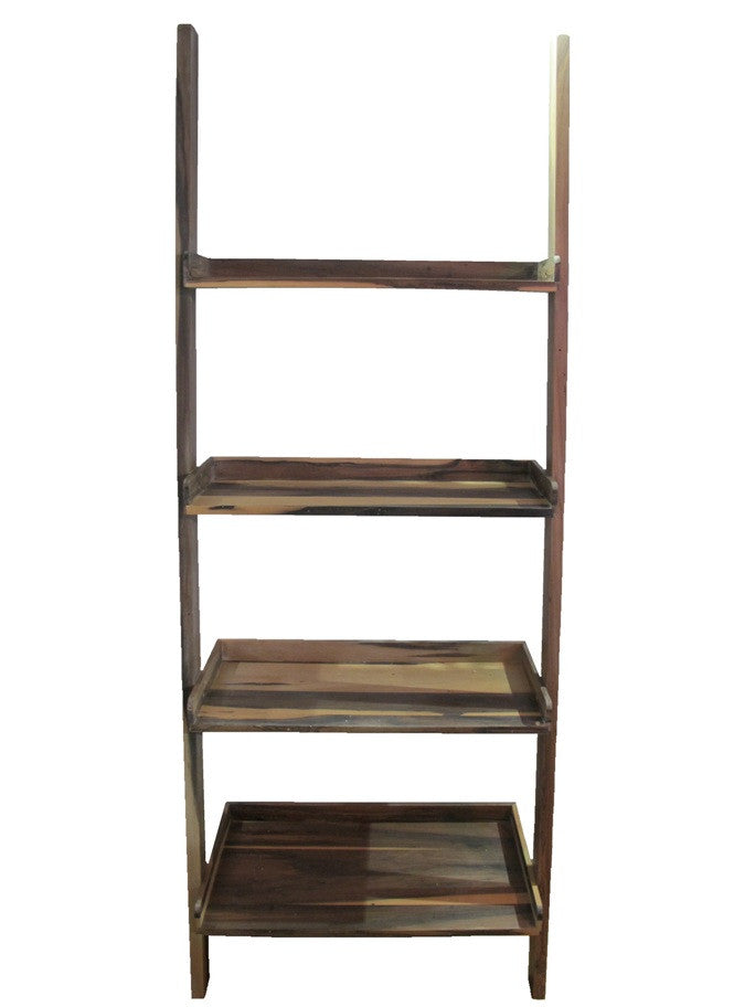 Self leaning Ladder Bookshelf in teak wood comes with  4 levels and one bottome drawer, provides ample storage and display space in small corner.