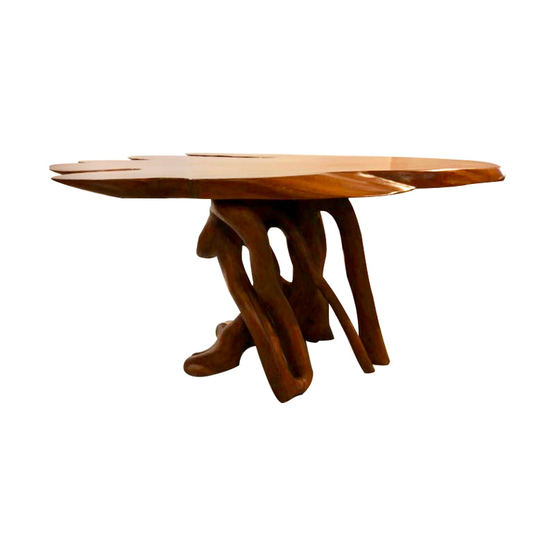 acacia wood free form tea table on natural vine legs