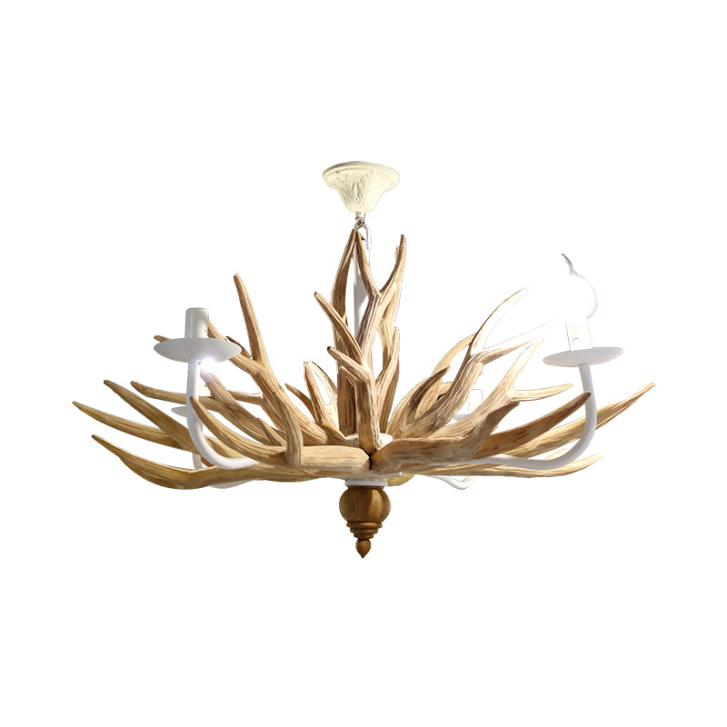 4 heads Wood Antler Chandelier Natural Wood