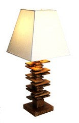 Cascading teak bse table lamp