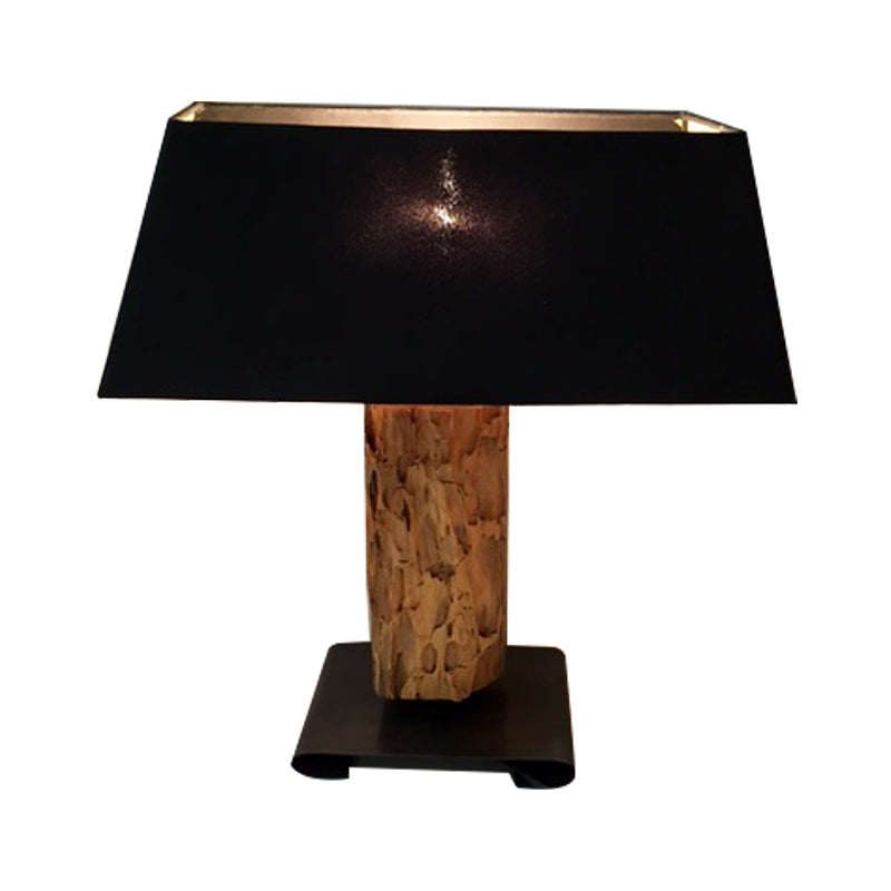 Teak base in black shade  table Lamp