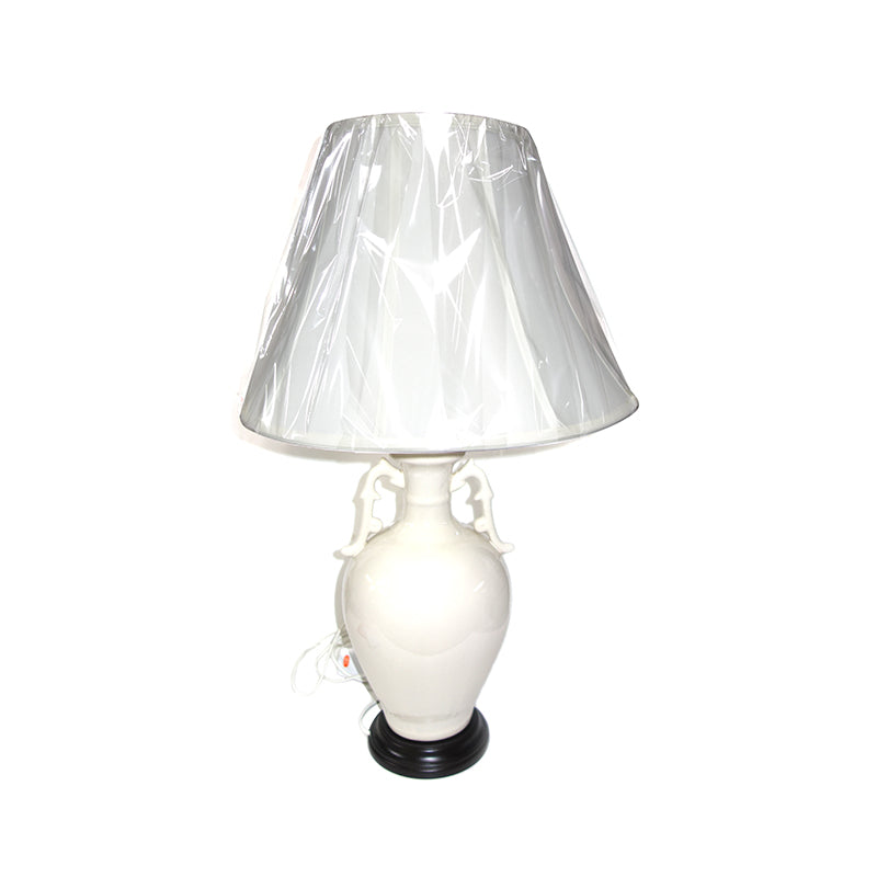 Ceramic lamp, white phoneix vase