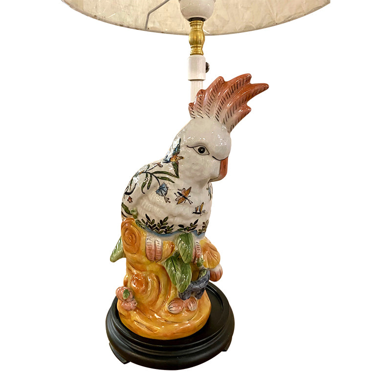 Ceramic parrot table lamp