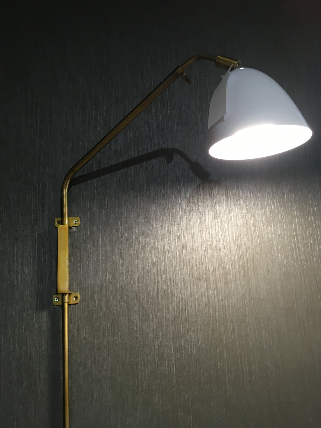 White shade on Brass wall Lamp