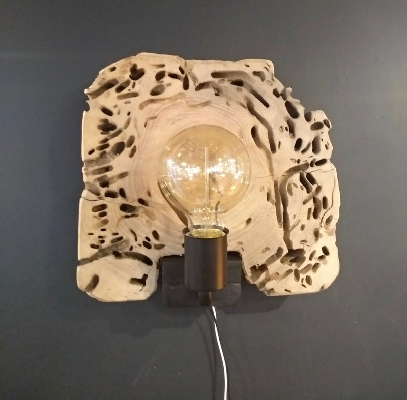 wood erosion wall lamp with LED bulb