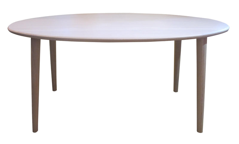 Soothing white beech color, soft oval line, Masa is an ideal table for small space, or family with kids.  Made of European white beech.