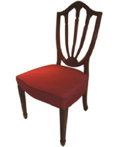 Fan style chair in solid mahogany with fabric seat.