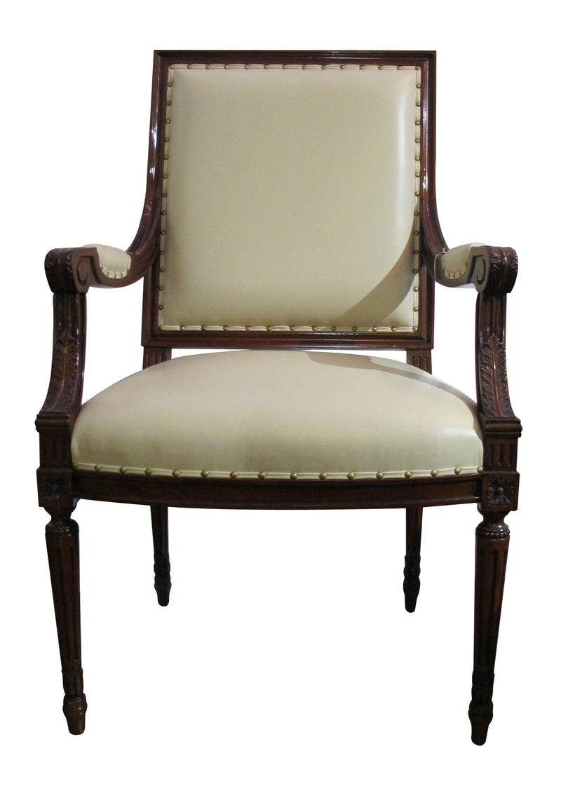 French Dining Armchair mahogany on leather seat
