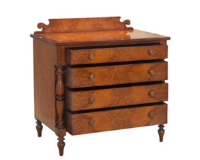Classical burl Nightstand has 4 drawers solid mahogany