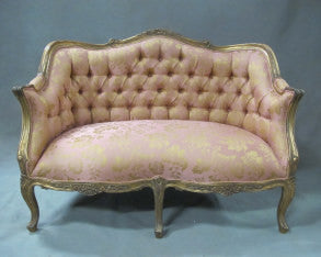 Louis XV style love seat sofa, hand tufted fabric antique gold frame