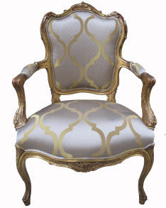 Versailles Arm Chair features antique gold frame , uphlostered in chenile fabric.