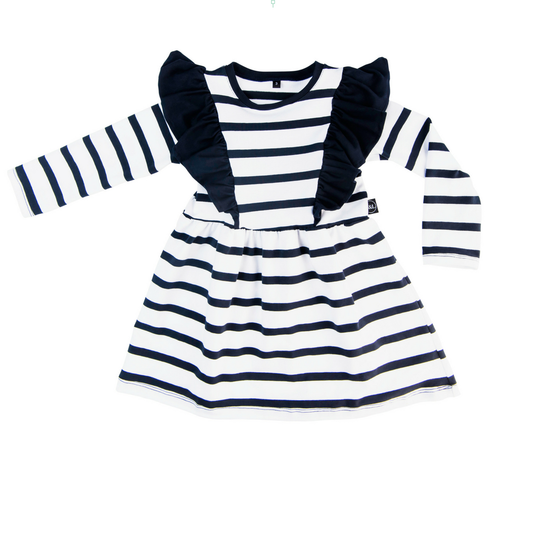 Girls Frilled Bodice Dress - Navy Stripe with Navy Frill - Sebi & Lucas