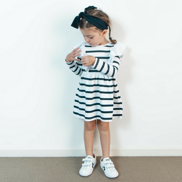 Girls Frilled Bodice Dress - Navy Stripe with White Frill - Sebi & Lucas