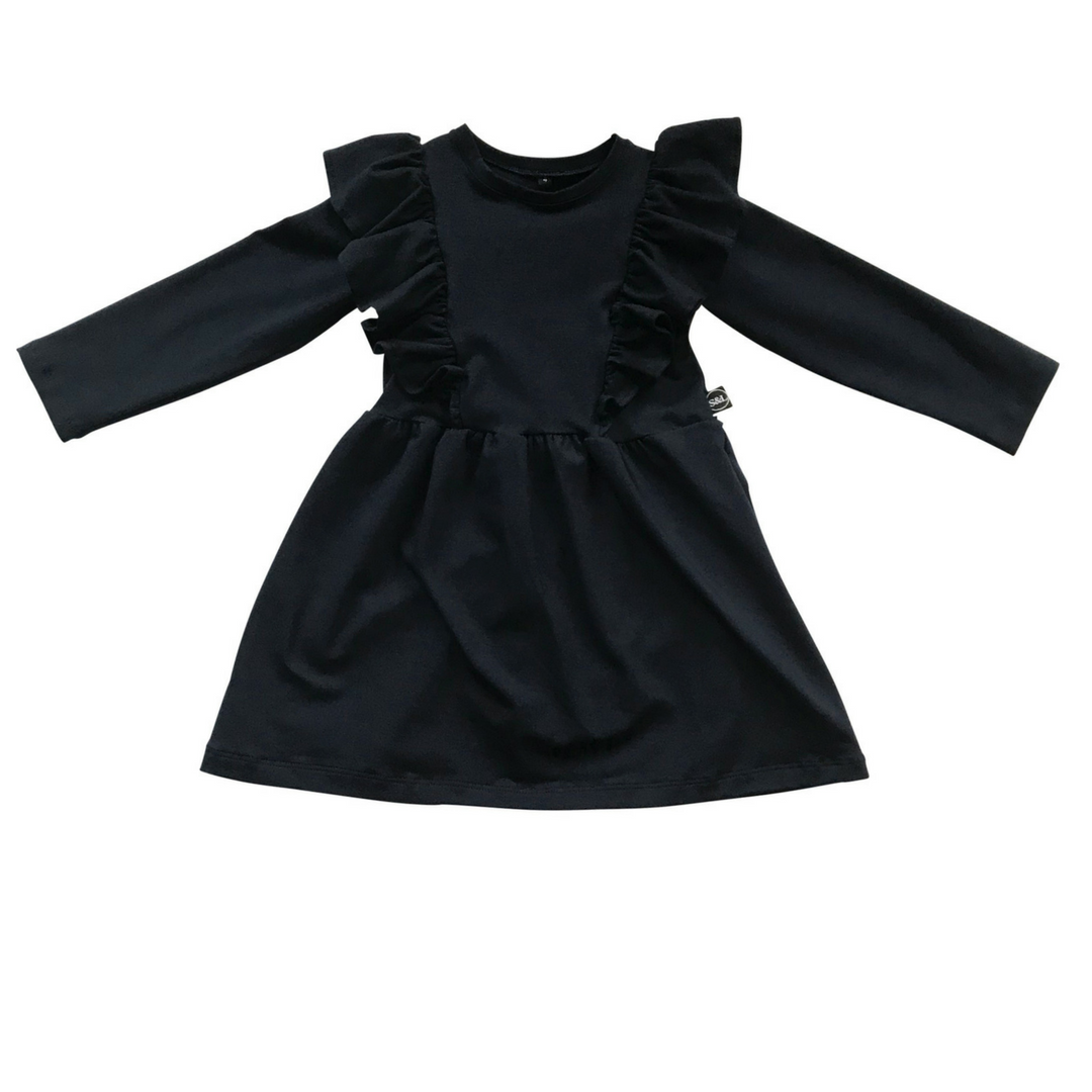 Girls Frilled Bodice Dress - Navy - Sebi & Lucas