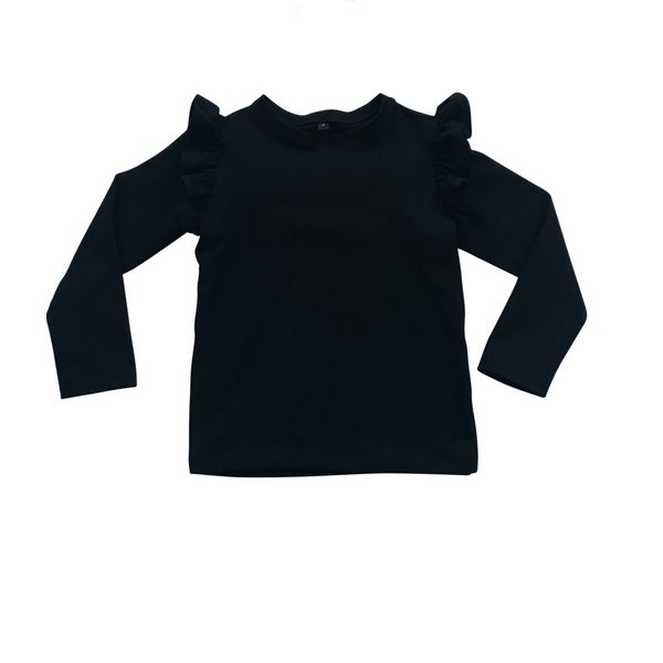 Basic Frilled Long Sleeve Top - Black - Sebi & Lucas