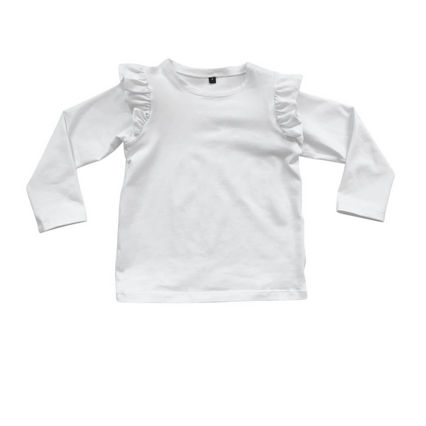Basic Frilled Long Sleeve Top - White - Sebi & Lucas