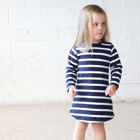 The Kayla Droptail dress - Blue with White Stripe - Sebi & Lucas