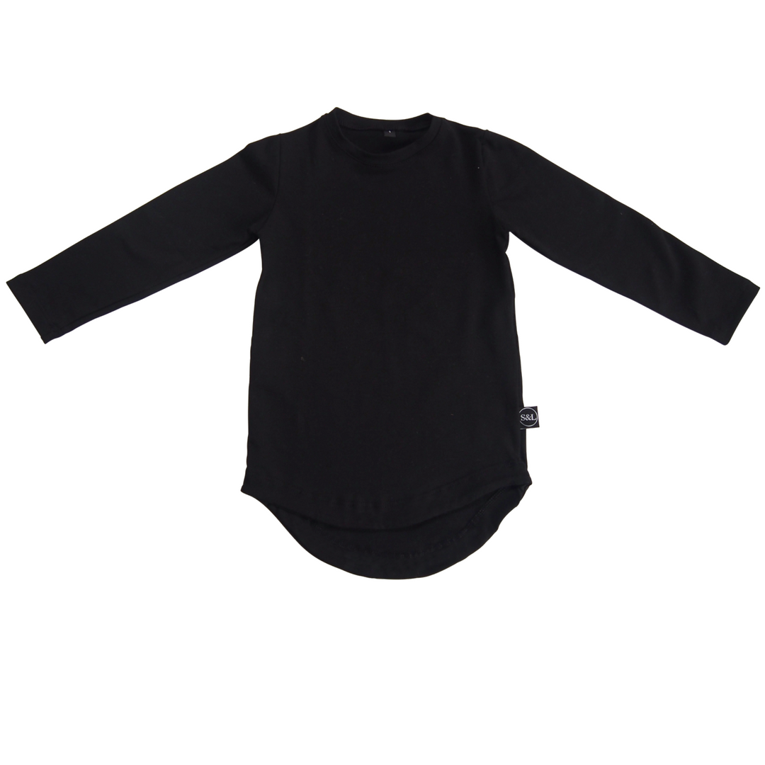 Basic Drop Tail Long Sleeve Top - Black - Sebi & Lucas