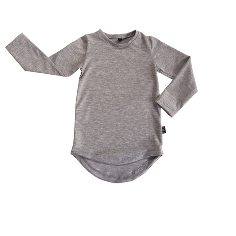Basic Drop Tail Long Sleeve Top - Grey Marle - Sebi & Lucas
