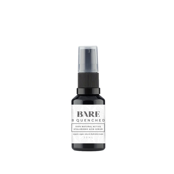 B QUENCHED - hyaluronic acid serum, advanced natural skincare, skincare routine, serum, bare movement, bare skin.