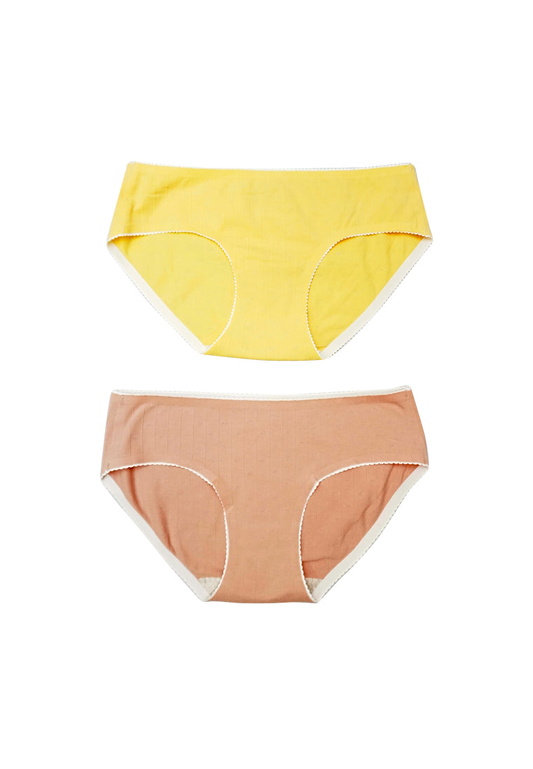 2 Pack Lucy Heart Shape Cotton Panties Yellow in Pink