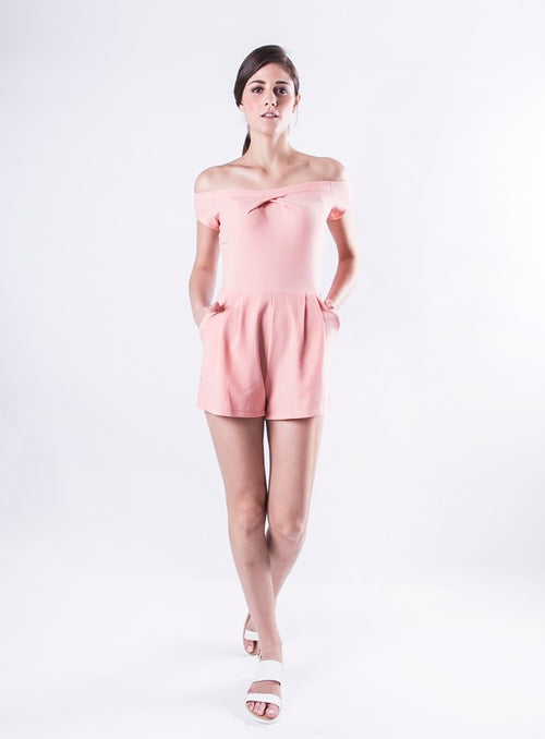 Blair Romper in Salmon