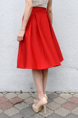 Kaitlynn Midi Skirt in Red