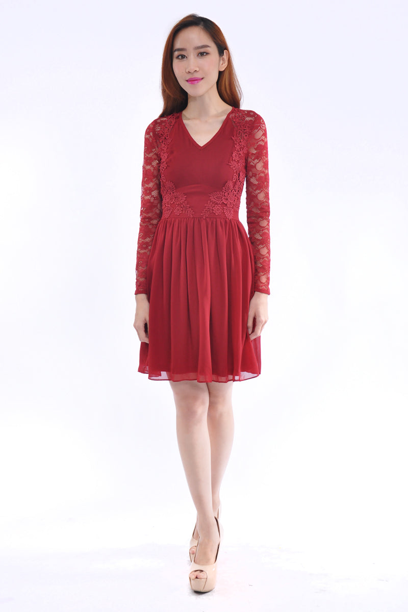 Isabelle Dress in Wine