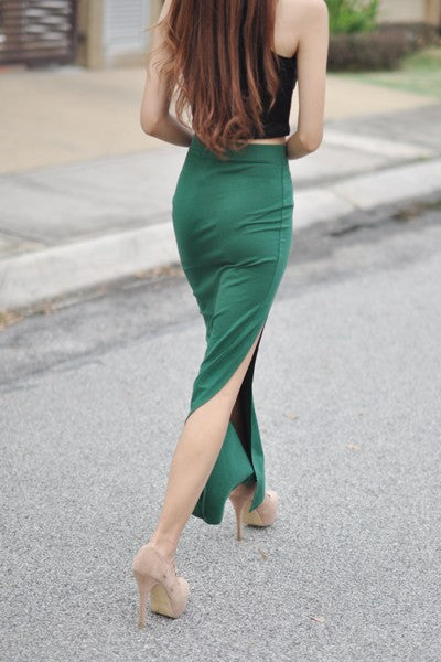 Kiara Slit Skirt in Green