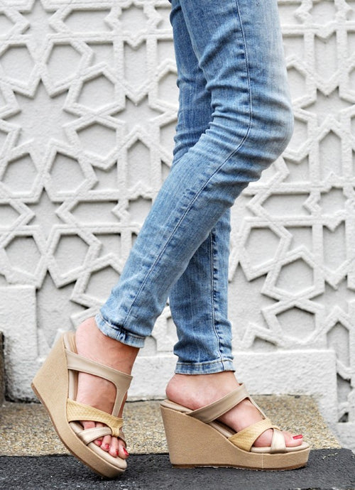 Celine Wedges in Nude