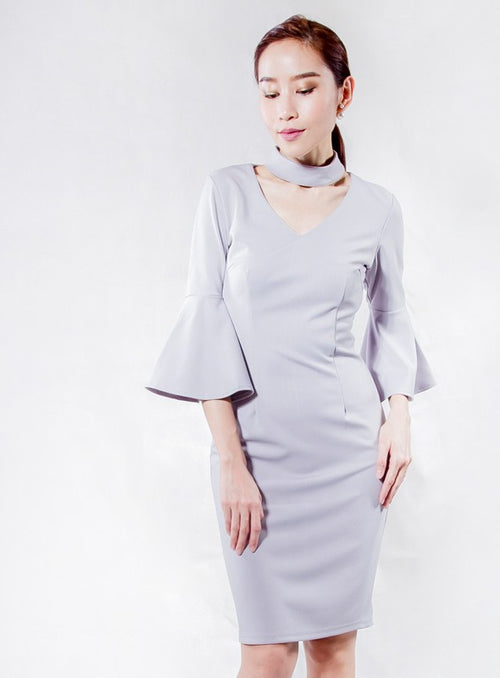 Choker Dress in Light Grey