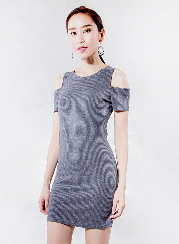 Cold Shoulder Dress in Grey