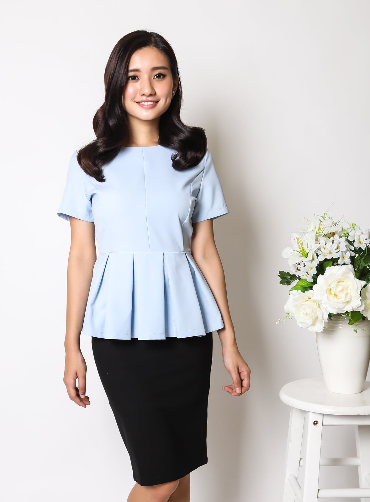 Adda Peplum Top in Sky Blue