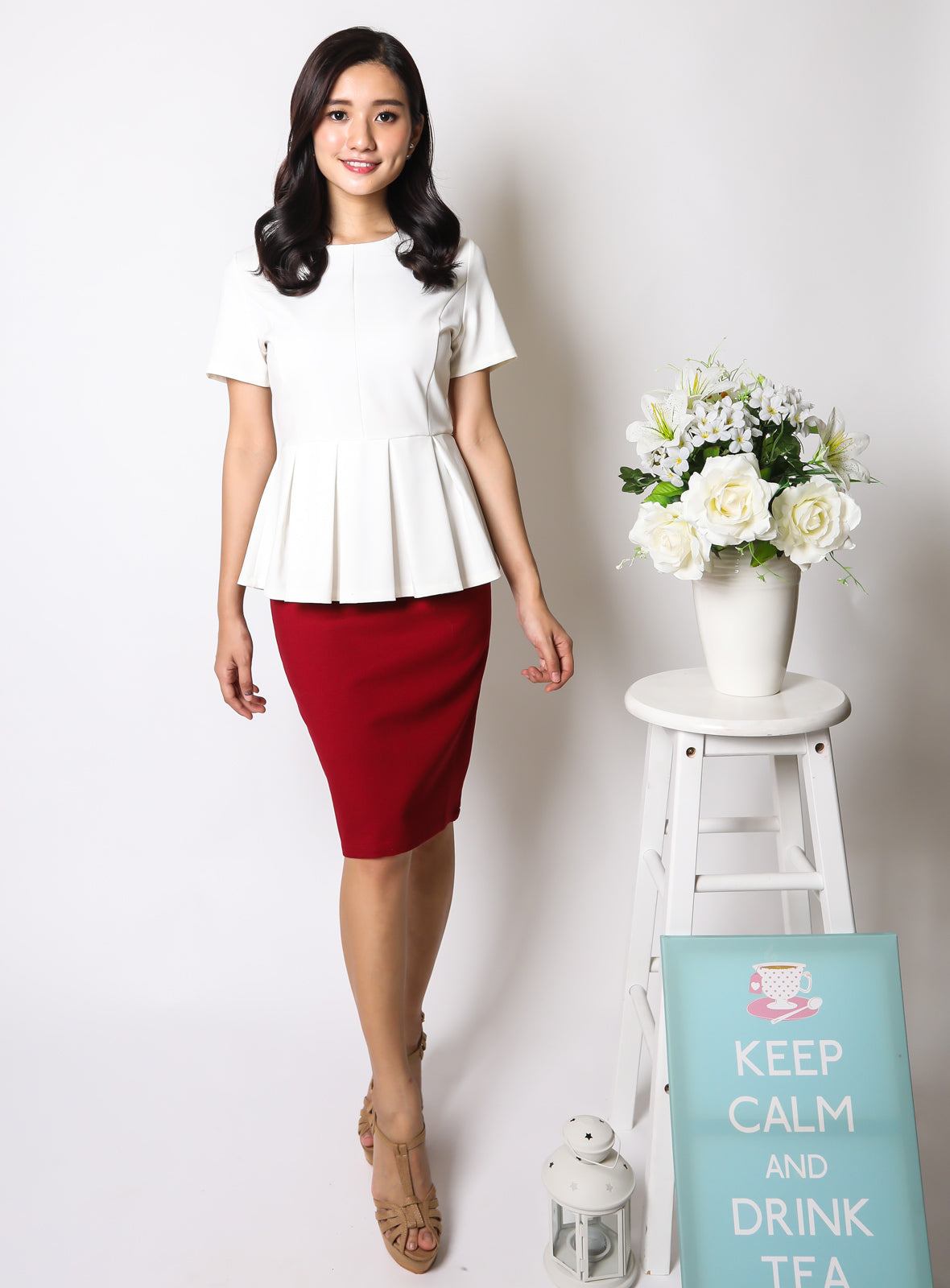 Adda Peplum Top in White