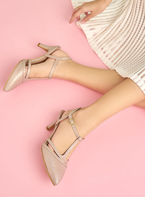 Ariel Heels in Dusty Pink