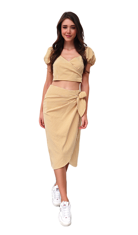 Miss Seventythree Checkered Wrapover Skirt in Yellow Mustard