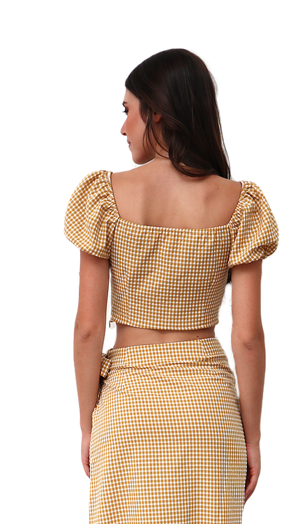 Miss Seventythree Checkered Short Top in Yellow Mustard