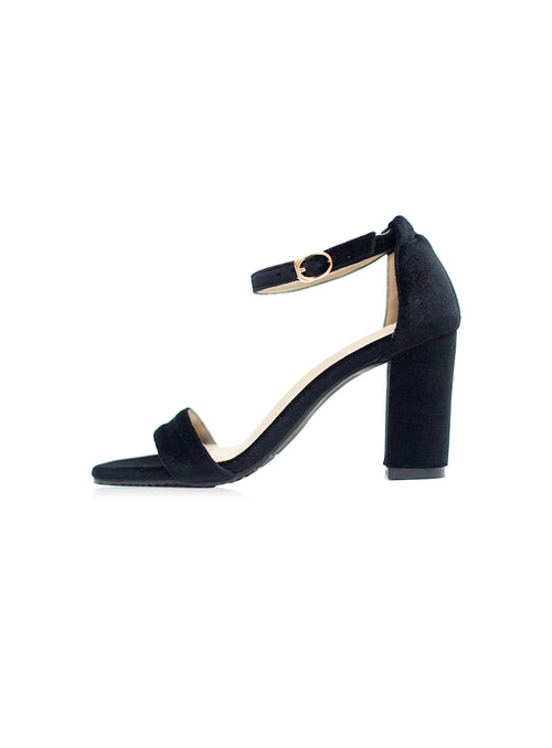 Jade Heels 2.0 in Full Black Velvet