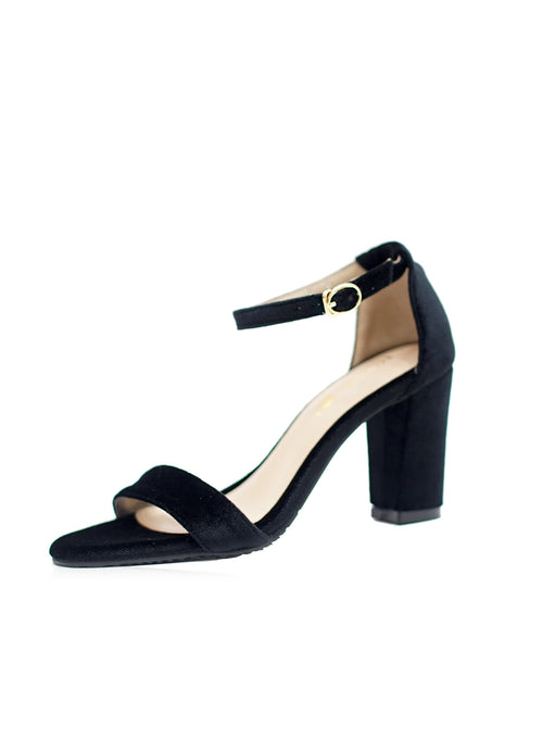 Jade Heels in Full Black Velvet