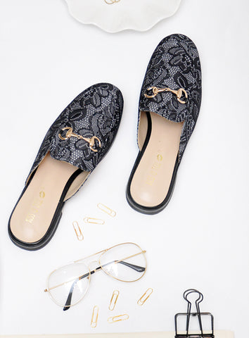 Paisley Heels in Black
