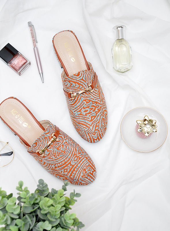 Ella Mules in Orange