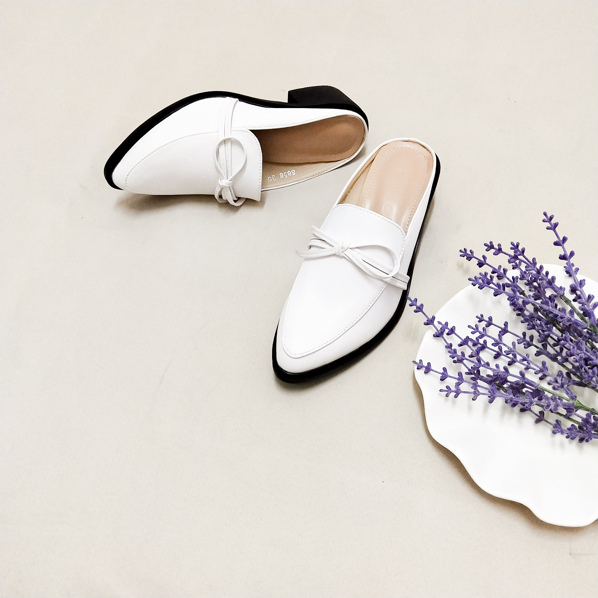 Colette Mules in White