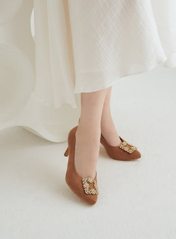 Allison Flats in White Floral